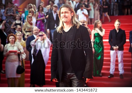 MOSCOW RUSSIA JUNE 20 Brad Pitt on the red carpet of russian premiere of World War Z on June 20 2013 Moscow Russia
