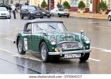 MOSCOW, RUSSIA - JUNE 3, 2012: British sports car Austin-Healey 3000 competes at the annual L.U.C. Chopard Classic Weekend Rally.