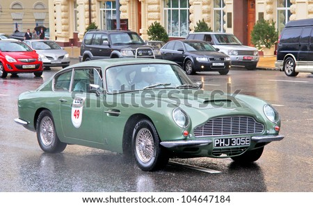 MOSCOW, RUSSIA - JUNE 3: English motor car Aston Martin DB6 competes at the annual L.U.C. Chopard Classic Weekend Rally on June 3, 2012 in Moscow, Russia.