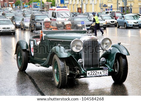 MOSCOW, RUSSIA - JUNE 3: English motor car Bentley Speed Six competes at the annual L.U.C. Chopard Classic Weekend Rally on June 3, 2012 in Moscow, Russia.
