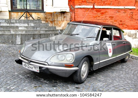 MOSCOW, RUSSIA - JUNE 3: French motor car Citroen DS competes at the annual L.U.C. Chopard Classic Weekend Rally on June 3, 2012 in Moscow, Russia.