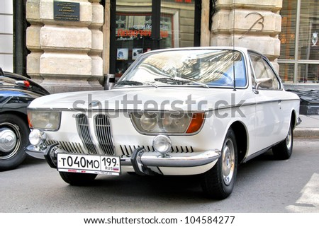 MOSCOW, RUSSIA - JUNE 3: German motor car BMW 2000CS competes at the annual L.U.C. Chopard Classic Weekend Rally on June 3, 2012 in Moscow, Russia.