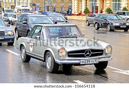 MOSCOW, RUSSIA - JUNE 3: German motor car Mercedes-Benz 250SL competes at the annual L.U.C. Chopard Classic Weekend Rally on June 3, 2012 in Moscow, Russia.