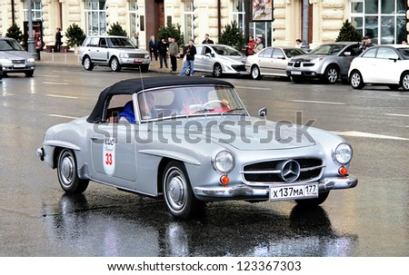MOSCOW, RUSSIA - JUNE 3: German sportscar Mercedes-Benz 190SL competes at the annual L.U.C. Chopard Classic Weekend Rally on June 3, 2012 in Moscow, Russia.