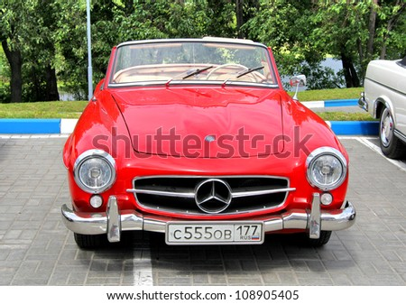MOSCOW, RUSSIA - JUNE 2: German sportscar Mercedes-Benz 190SL competes at the annual Panauto Travel Rally on June 2, 2012 in Moscow, Russia.