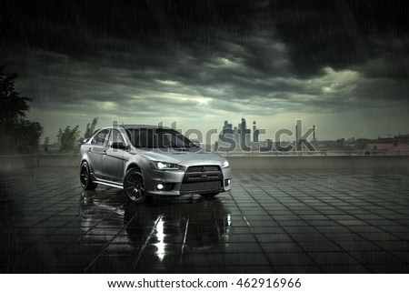 "stock photo moscow russia june gray car mitsubishi lancer stay and reflect in wet road in heavy 462916966 - Каталог - Фотообои ""Автомобили"""