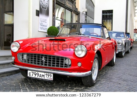 MOSCOW, RUSSIA - JUNE 3: Italian motor car Ferrari 250GT competes at the annual L.U.C. Chopard Classic Weekend Rally on June 3, 2012 in Moscow, Russia.