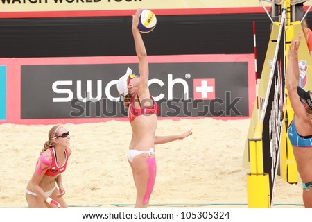 MOSCOW, RUSSIA - JUNE 8: Kolocova - Slukova (right), Czech Republic vs Ukolova (left) and Khomyakova (center), Russia, during Beach Volleyball Swatch World Tour in Moscow, Russia at June 8, 2012