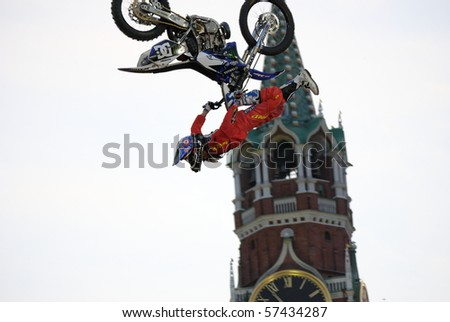 MOSCOW, RUSSIA - JUNE 26: Red Bull X-Fighters FMX competition on Red Square Nate Adams performs BackFlip Stripper, 26 June, 2010 in Moscow, Russia
