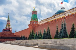 Moscow. Russia. Kremlin. Spasskaya Tower. Mausoleum in Moscow. Tours of the Red Square. Walls of the Kremlin. Traveling around Moscow. Russia on a sunny day. Sights of Russia. Kremlin towers