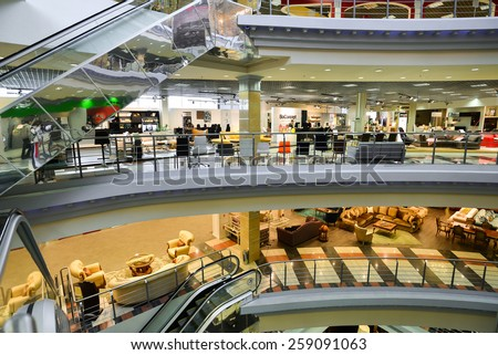 MOSCOW, RUSSIA - MARCH 05 2015: Interior Furniture shopping complex Grand. Furniture shopping mall GRAND - the largest specialty shop in a Russia and Europe.
