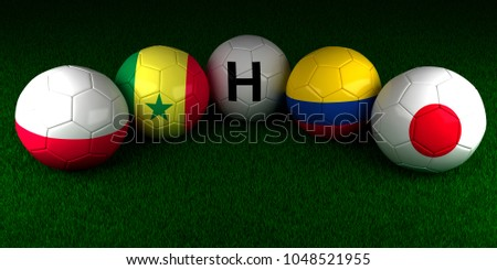 Moscow/ Russia - March 18 2018: Soccer World Cup 2018 balls with the flag of Group H Poland Senegal Colombia Japan on the green grass of stadium 3d render