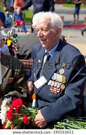 MOSCOW, RUSSIA - MAY 9: A veteran celebrates day of a victory in the Second World War, May 9, 2013 in Moscow, Russia.