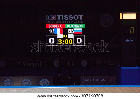 MOSCOW, RUSSIA - MAY 31 2015: C. Berger and E. Dyachenko score board on the World  fencing Grand Prix Moscow Saber in Luzhniki sport palace