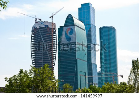 MOSCOW, RUSSIA - MAY 16: Cityscape of the Moscow, view to Moscow International Business Center on MAY 16, 2013. It is the biggest commercial district in central Moscow, Russia.