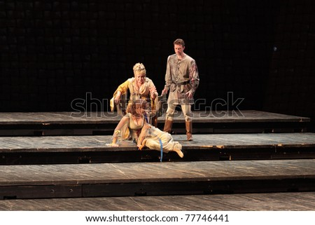 """MOSCOW, RUSSIA - MAY 30: """"Hamlet"""" by William Shakespeare performed by actors of the Central Academic Theatre of Russian Army on May 30, 2010 at Central Academic Theatre of Russian Army  in Moscow."""