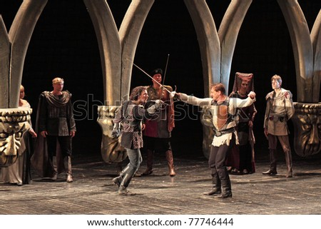 "stock photo : MOSCOW, RUSSIA - MAY 30: ""Hamlet"" by William Shakespeare performed by actors of the Central Academic Theatre of Russian Army on May 30, 2010 at Central Academic Theatre of Russian Army  in Moscow."