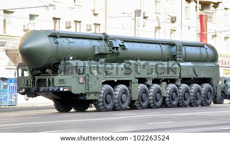 MOSCOW, RUSSIA - MAY 6: Intercontinental ballistic missile Topol-M exhibited at the annual Victory day Parade dress rehearsal on May 6, 2012 in Moscow, Russia.