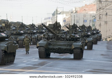 """MOSCOW, RUSSIA - MAY 6: Main battle tank T-90 """"Vladimir"""" exhibited at the annual Victory day Parade dress rehearsal on May 6, 2012 in Moscow, Russia."""
