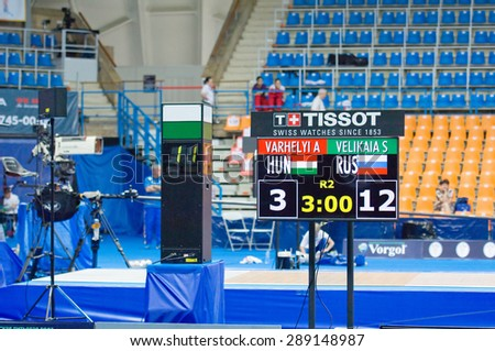 MOSCOW, RUSSIA - MAY 31 2015: S. Velikaya and A. Harvelyi score board on the World  fencing Grand Prix Moscow Saber in Luzhniki sport palace