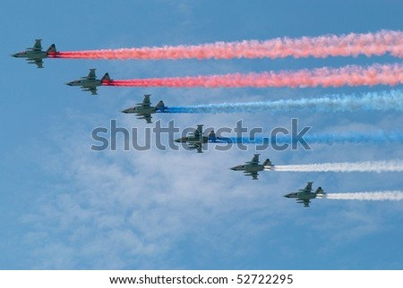 MOSCOW, RUSSIA - MAY 9: Traces of the 6 planes on the sky in the form of the russian tricolor flag. Victory Day celebrating on May 9, 2010 in Moscow, Russia