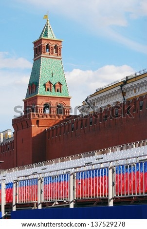 MOSCOW, RUSSIA - MAY 01: Tribunes put on the Red Square, by the Moscow Kremlin wall for May holidays celebration (May 1st and May 9). Taken on May 1st, 2013 in Moscow, Russia.