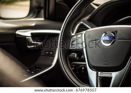 MOSCOW, RUSSIA - MAY 20, 2017 VOLVO XC60 POLESTAR, inerior view. Test of new Volvo XC60 Polestar. This car is AWD compact crossover SUV. T6 engine. #676978507