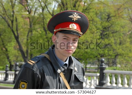 MOSCOW, RUSSIA - MAY 8: Young policeman guards the Kremlin during the visit of heads of state on May 8, 2010 in Moscow, Russia. Leaders gathered to mark the 60th anniversary of the end of WW2.