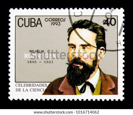 MOSCOW, RUSSIA - NOVEMBER 25, 2017: A stamp printed in Cuba shows Wilhelm Conrad Roentgen, Scientists serie, circa 1993