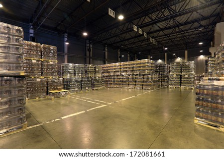 MOSCOW, RUSSIA, OCHAKOVO BREWERY-JUN 13, 2013: The biggest Russian company beer and beverage industry. Warehouse of finished products company