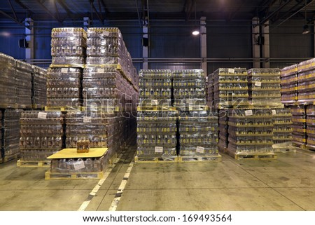 MOSCOW, RUSSIA, OCHAKOVO BREWERY - JUNE 13, 2013: The biggest Russian company beer and beverage industry. Warehouse of finished products company