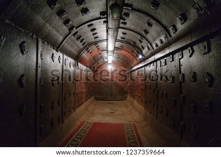 Moscow, Russia - October 25, 2017: Tunnel at Bunker-42, anti-nuclear underground facility built in 1956 as command post of strategic nuclear forces of Soviet Union.