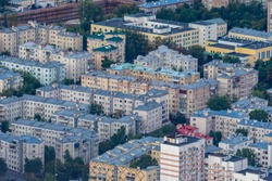 Moscow. Russia. Panorama of the Russian capital from a quadrocopter.  Residential areas of Moscow. Housing construction in the Russian capital. Urban infrastructure. Cities of Russia. Travel to Russia