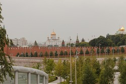 Moscow, Russia.  Part of Zaryadye park.  View to the Kremlin wall and and Christ the Saviour cathedral.  Summer