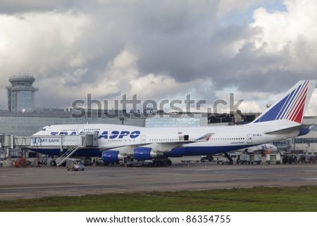 MOSCOW, RUSSIA - SEP 17: Transaero aircraft parks at Moscow airport Domodedovo on SEP, 17 2011. Transaero operates scheduled and charter flights to more than 99 domestic and international destinations