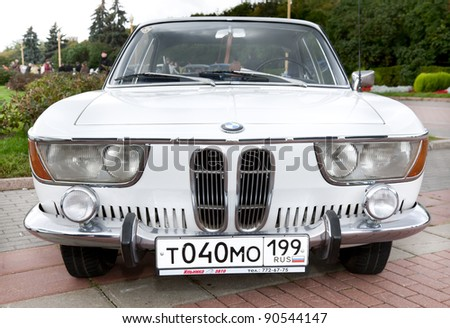 MOSCOW, RUSSIA - SEPT 24: A 1965 BMW 2000CS in the final stage of the competition for classic cars at the \