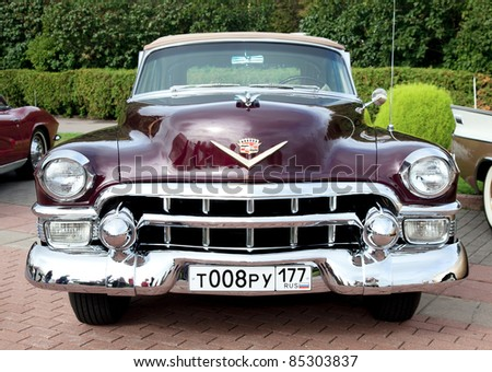 MOSCOW, RUSSIA - SEPT 24: A 1953 Cadillac Eldorado in the final stage of the competition for classic cars at the \