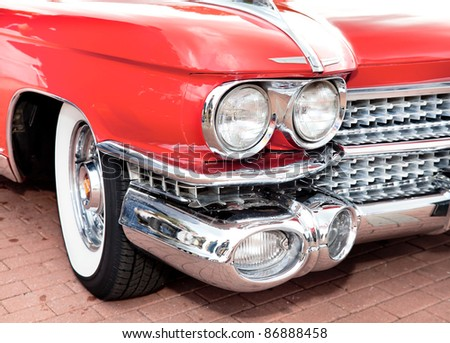 "MOSCOW, RUSSIA - SEPT 24: A 1959 Cadillac Eldorado in the final stage of the competition for classic cars at the ""Closing  of the season Rally Retro Car"" on September 24, 2011 in Moscow, Russia"