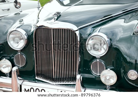 MOSCOW, RUSSIA - SEPT 24: A 1961 Jaguar Mark IX in the final stage of the competition for classic cars at the \