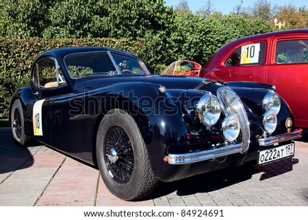 MOSCOW, RUSSIA - SEPT 25: A 1953 Jaguar XK120 Roadster in the final stage of the championship competition for classic cars at the \