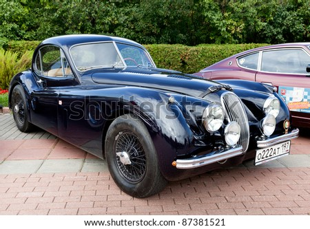MOSCOW, RUSSIA - SEPT 24: A 1953 Jaguar XK120 Roadster in the final stage of the competition for classic cars at the \