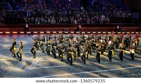 """MOSCOW, RUSSIA - SEPTEMBER, 2018: Festival of military orchestras """"Spasskaya Tower"""" on Red Square. #1360579235"""