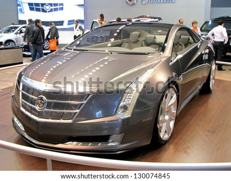 MOSCOW, RUSSIA - SEPTEMBER 1: Hybrid concept car Cadillac ELR on display at the Moscow International Motor Show (MIMS) on September 1, 2010 in Moscow, Russia.
