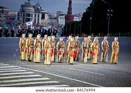 "MOSCOW, RUSSIA - SEPTEMBER 3: Jordan Orchestra. International Military Music Festival ""Spassky Tower"" on September 3, 2011 at Red Square in Moscow, Russia"