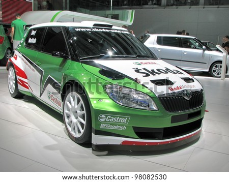 MOSCOW, RUSSIA - SEPTEMBER 1: Skoda Fabia on display at the Moscow International Autosalon on September 1, 2010 in Moscow, Russia.