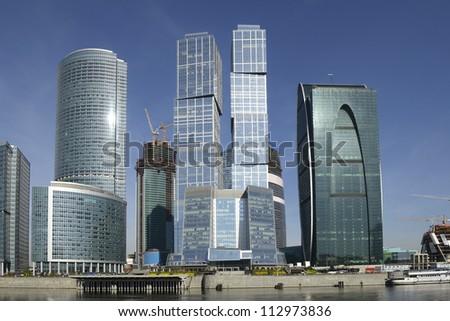 MOSCOW, RUSSIA-SEPTEMBER 14:Skyscrapers of the MIBC on September 14, 2012 in Moscow, Russia. The total cost of the project is estimated at $12 billion.MIBC is the 100 hectare development area