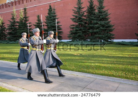 MOSCOW, RUSSIA - SEPTEMBER 30: Soldiers of a guard of honour on Red Square on a march September 30th, 2008 near Kremlin Wall , Russia.