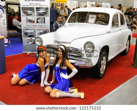 MOSCOW, RUSSIA - SEPTEMBER 30: Soviet car GAZ-20 Pobeda and two unidentified models presented at the annual motor show Ilya Sorokin's Oldtimer Gallery on September 30, 2012 in Moscow, Russia.