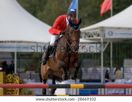 "MOSCOW, RUSSIA - SEPTEMBER 21: World Cup of riding competition ""Crystal Saddle - 2008"" in Moscow, Russia, on September 21, 2008."
