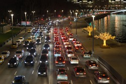 Moscow. Russia. Traffic jam in the center of the metropolis